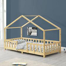 Kinderbett mit Rausfallschutz 90x200cm Haus Holz Natur Bettenhaus Hausbett Bett