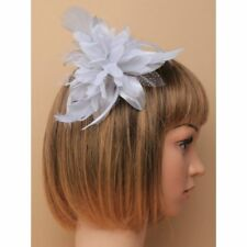 Silver Grey Feather Flower Fascinator on a clear comb