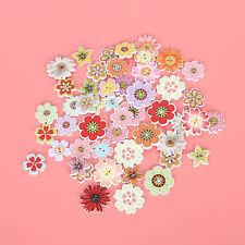 50Pcs Botones De Madera Mixta Flores Costura Botones Decoración Artesanía HFGHY