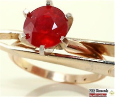 3.03ct Genuine Ruby Solitaire Solid 14K 14KT Yellow Gold Ring FREE SHIPPING