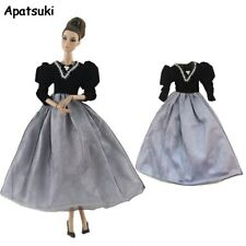 Black Gray Fashion Doll Clothes For Barbie Doll Outfit Princess Gown Party Dress