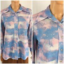 Vintage 60s 70s Print Disco Knit Shirt Watercolor Nature Scape Boho Hippie M/L