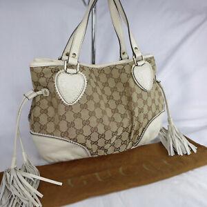 Authentic Rare Gucci Tribeca GG Canvas Medium Tasselled Tote Handbag Purse VGC