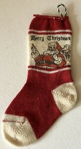 Vintage 1940s Knit MINI MINIATURE Santa Merry Christmas Stocking Ornament TINY