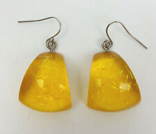 Vintage pierced earrings clear yellow confetti lucite earrings