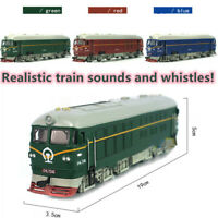 1:87 Simulated Alloy Train Locomotive Model Pull Back Toy Sound Music Lights DIY