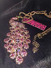 BETSEY JOHNSON Rhinestone Gorgeous Crystal Gem Peacock Gemstone Necklace US