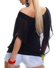 Sexy Chiffon Pump Long Bluse Shirt kurzer Fledermaus Arm 34/36/38 TOP schwarz