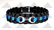 "Standard Paracord Survival Bracelet ""Thin Blue Line"" with Handcuff Charm"