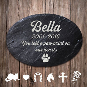 Personalized  UV Print Pet Memorial Slate Stone Plaque Dog Pig Cat Grave Marker