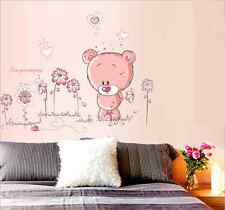Removable Pink Bear Nursery Girl Baby Children Bedroom Wall Sticker Art Decal
