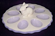 Deviled Eggs Easter Rabbit Bunny Dish Tray White Lilac Ceramic Purple Table New