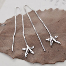 925 Sterling Silver Starfish Star Thread Line Threader Earrings A1794