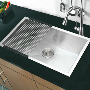 Thickness Kitchen Sink Stainless Steel Single Bowl Drainer Waste Kit Square
