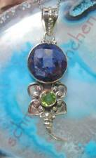 Pendant Scorpio Sapphire Blue and Peridot Green Sterling Silver 925