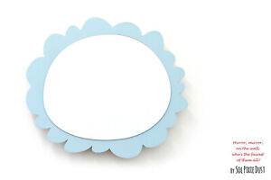 Safety Mirror Oval Frame Blue with LED light - Wall Decor - Nursery Kid Mirror