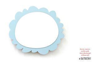 Safety Mirror Oval Frame Blue with LED light - Wall Decor - Nursery Kid Mirror