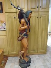 "VINTAGE WOODEN CIGAR STORE INDIAN with DEER / STAG 58"" Tall"