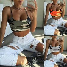 Women Camouflage Sleeveless Tank Top Bustier Bra Vest Crop Top Blouse T-Shirt