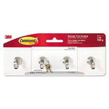 Command Decorative Key Rail 8w x 1 1/2d x 2 1/8h White/Silver 4 Hooks/Pack