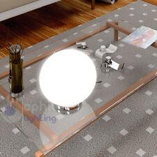Lampada tavolo lume abat jour moderno cromo sfera vetro soffiato bianco comodino