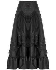 Punk Rave Long Gothic Bustle Skirt Black Lace Mesh Steampunk Victorian Baroque