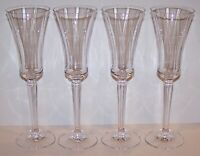 "STUNNING SIGNED SET OF 4 RALPH LAUREN CRYSTAL GARLAND 9 3/4"" CHAMPAGNE FLUTES"