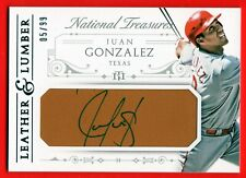 JUAN GONZALEZ 2015 PANINI NATIONAL TREASURES LEATHER & LUMBER AUTO # /99 RANGERS