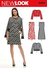NEW LOOK SEWING PATTERN MISSES' SLEEVELESS DRESS & JACKET SIZE  8 - 20 6302