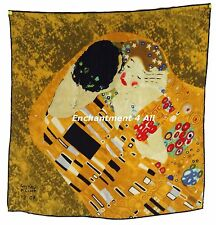 "Luxurious 22""x22"" 100% Silk Twill Scarf Wrap w/ Klimt ""The Kiss (Close-Up)"" 1907"