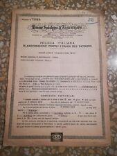 UNIONE ASSICURAZIONE SUBALPINA - Polizza Antincendio 1950