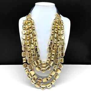 Chico's Gold Tone Beaded Multi Strand Bib Statement Necklace Black Faux Leather