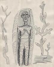 SURREALISM EGYPTIAN MUMMY Pen & Ink Drawing LINDA CARMAN c1930 ABSTRACT