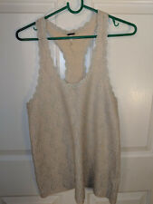 Free People Women's Off-White and Silver Sleeveless Tank