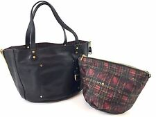 Innue Italian Large Black Leather Reversible Tartan Shoulder Handbag Tote