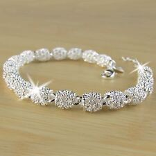 UK Gorgeous Women's 925 Silver Charm Chain Bangle Bracelet Wedding Jewelry Gifts