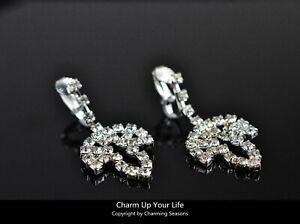 18K White Gold Plated Swarovski Element Crystal Leaf Clip On Dangle Earrings