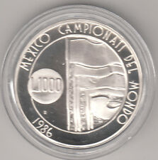 SAN MARINO 1986 LIRE 1000 ARGENTO FONDO SPECCHIO MONDIALI CALCIO MESSICO  RARA