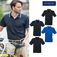 Henbury Double Tipped Men's Polo Shirt H482 - Casual Short Sleeve Collared Tee