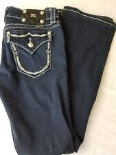 Miss Me Jeans Women's Dark Wash JP5531B2 Boot Cut Flap Pockets Bling Size 27