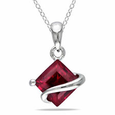 Sterling Silver Created Ruby Necklace by Amour