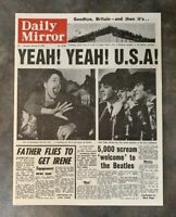 Vintage Repro 1960s Daily Mirror THE BEATLES ARRIVE IN AMERICA Headline