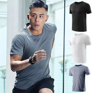 Men Ice Silk T Shirt Solid Color Short Sleeve Quick Drying Sports Stretch Tops