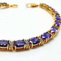Yellow gold finish purple amethyst and created diamonds tennis bracelet gift box