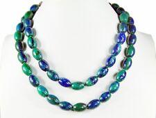 Collier de pierres précieuses magnifique en Azurite-malachite en Forme d'olive