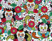 DAY OF THE DEAD  SUGAR SKULLS  FOLKLORIC 100% COTTON FABRIC  QUILTING  YARDAGE