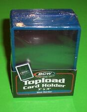 25 TOPLOAD CARD HOLDERS W/ BLUE BORDER,FOR TRADING CARDS,12M 3 X 4 RIGID PLASTIC