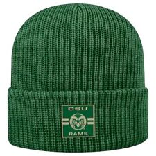 "Nwt Top of the Worldâ""¢ Adult Green Knitted Cuffed Acrylic Csu Rams Fan Cap"