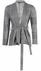 BNWT Boohoo Grey Checked Tie Waist Blazer Size 6