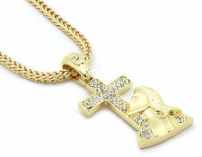 """Mens Gold 14k Jesus+Cross Cz Pendant Hip-Hop 30"""" 4mm Franco Necklace Chain M4"""